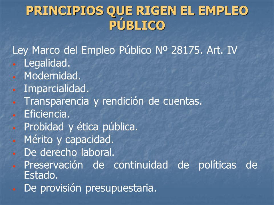 PRINCIPIOS QUE RIGEN EL EMPLEO PÚBLICO