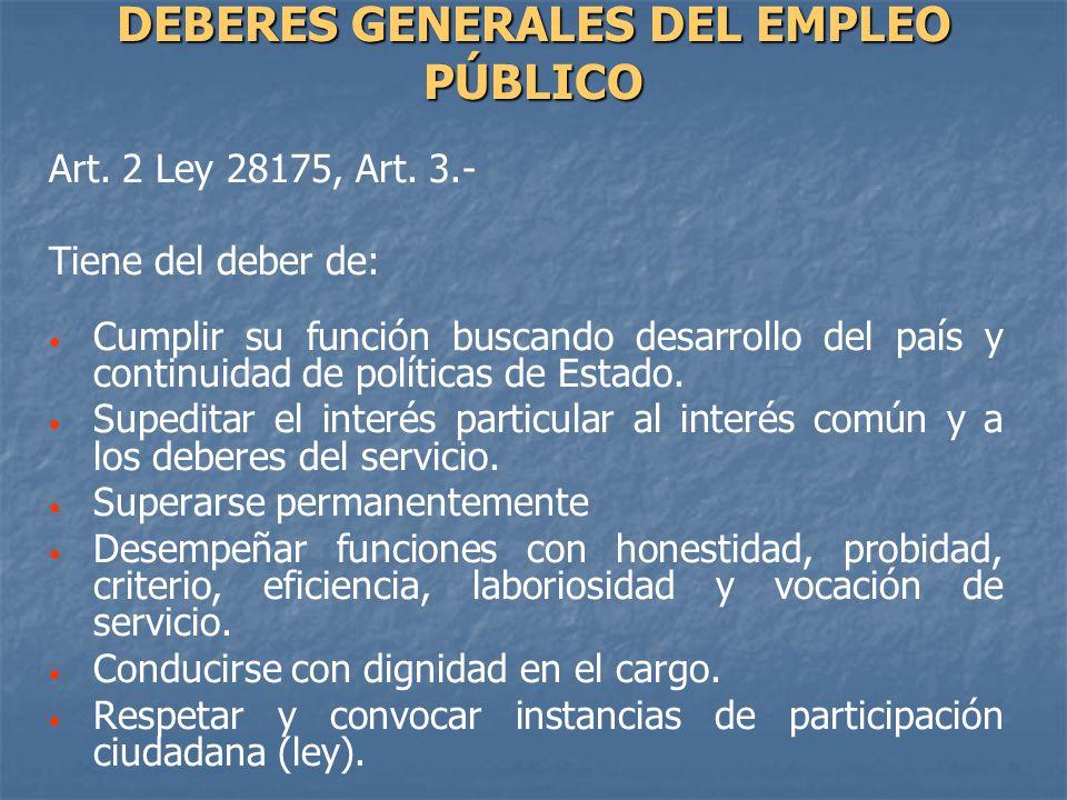 DEBERES GENERALES DEL EMPLEO PÚBLICO