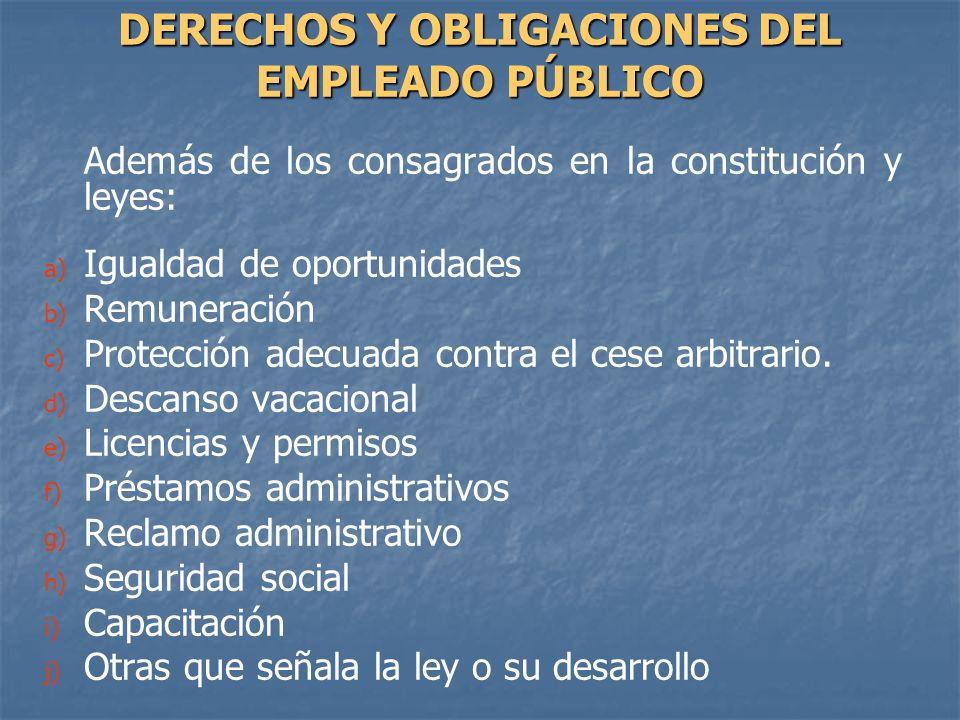DERECHOS Y OBLIGACIONES DEL EMPLEADO PÚBLICO