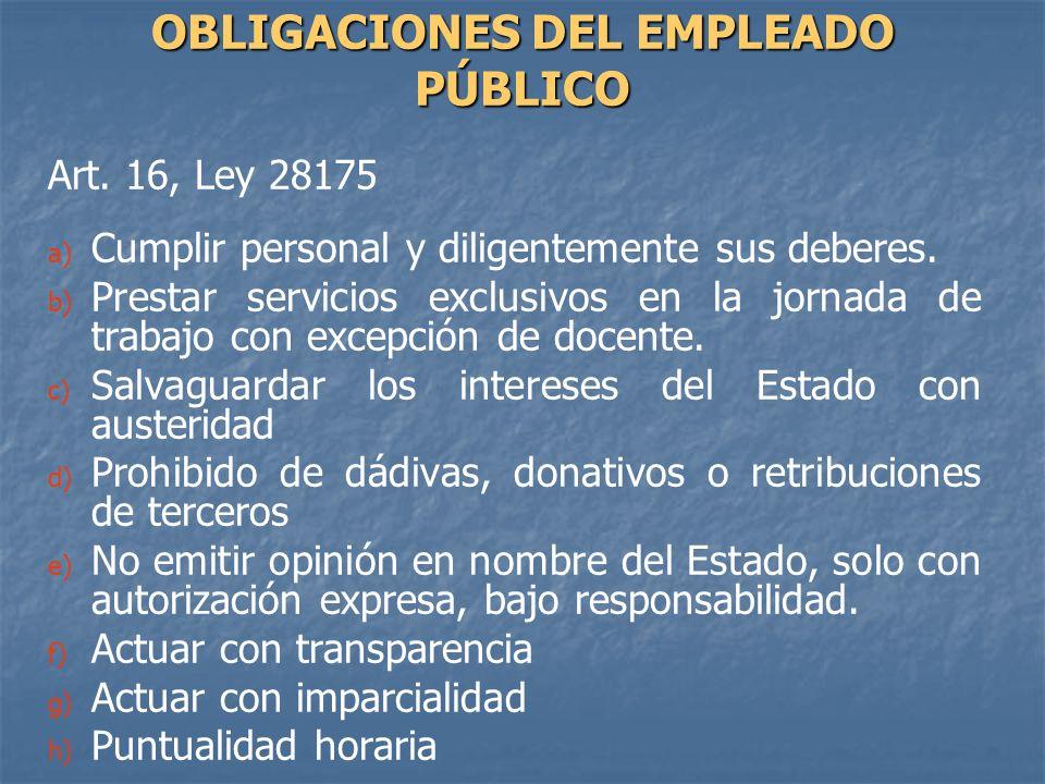 OBLIGACIONES DEL EMPLEADO PÚBLICO