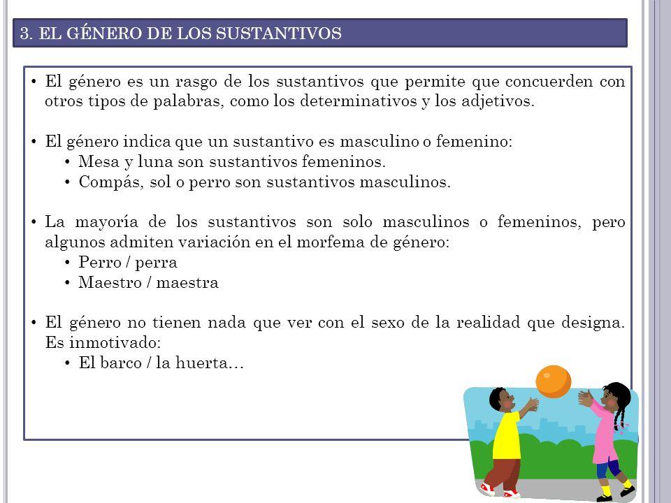3. EL GÉNERO DE LOS SUSTANTIVOS