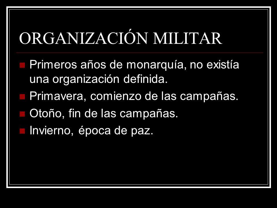 ORGANIZACIÓN MILITAR Primeros años de monarquía, no existía una organización definida. Primavera, comienzo de las campañas.