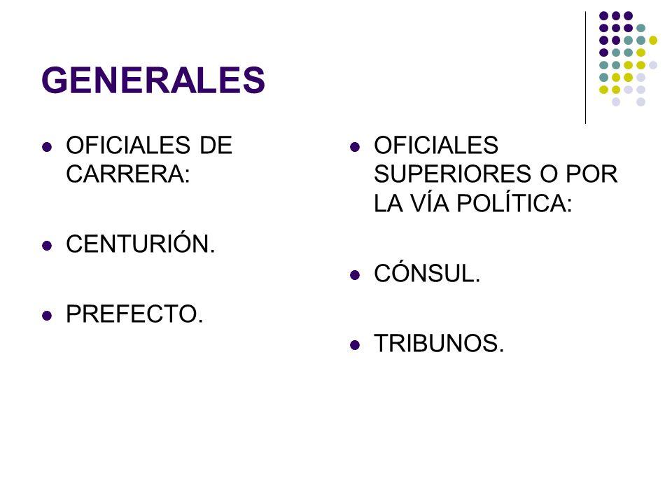 GENERALES OFICIALES DE CARRERA: CENTURIÓN. PREFECTO.