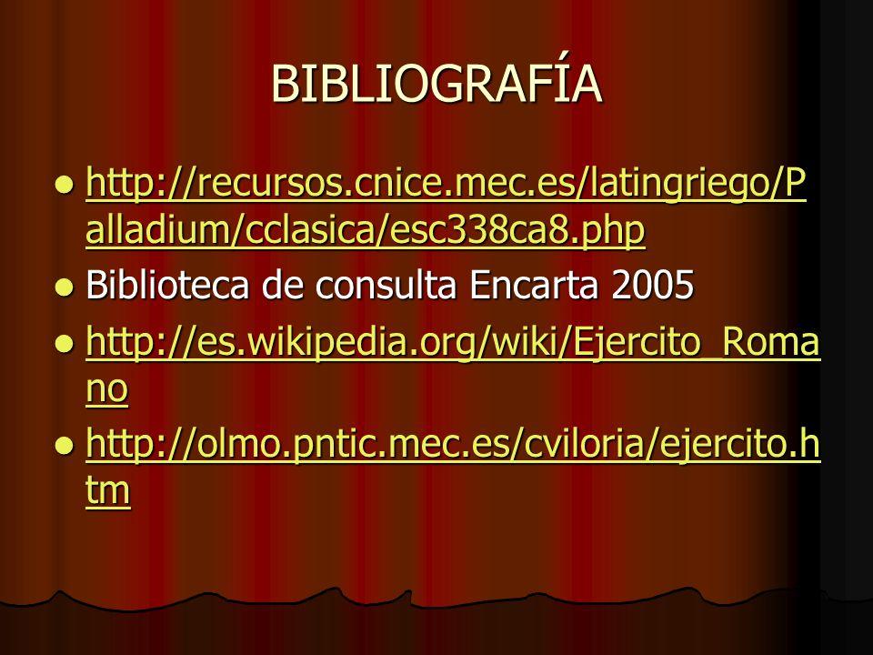 BIBLIOGRAFÍAhttp://recursos.cnice.mec.es/latingriego/Palladium/cclasica/esc338ca8.php. Biblioteca de consulta Encarta 2005.