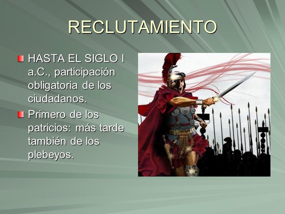 RECLUTAMIENTO HASTA EL SIGLO I a.C., participación obligatoria de los ciudadanos.
