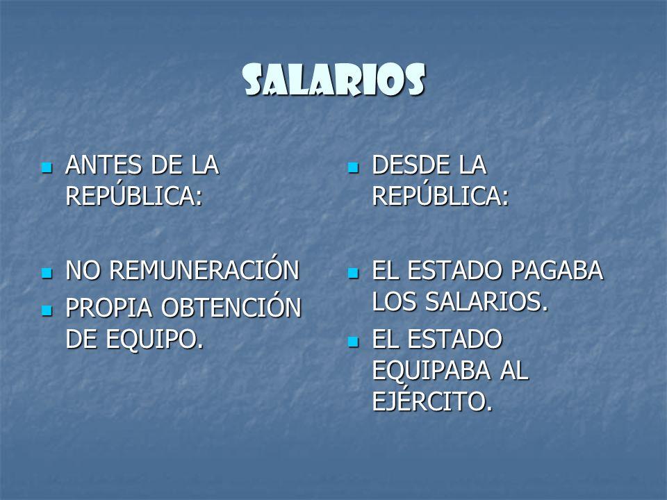 SALARIOS ANTES DE LA REPÚBLICA: NO REMUNERACIÓN