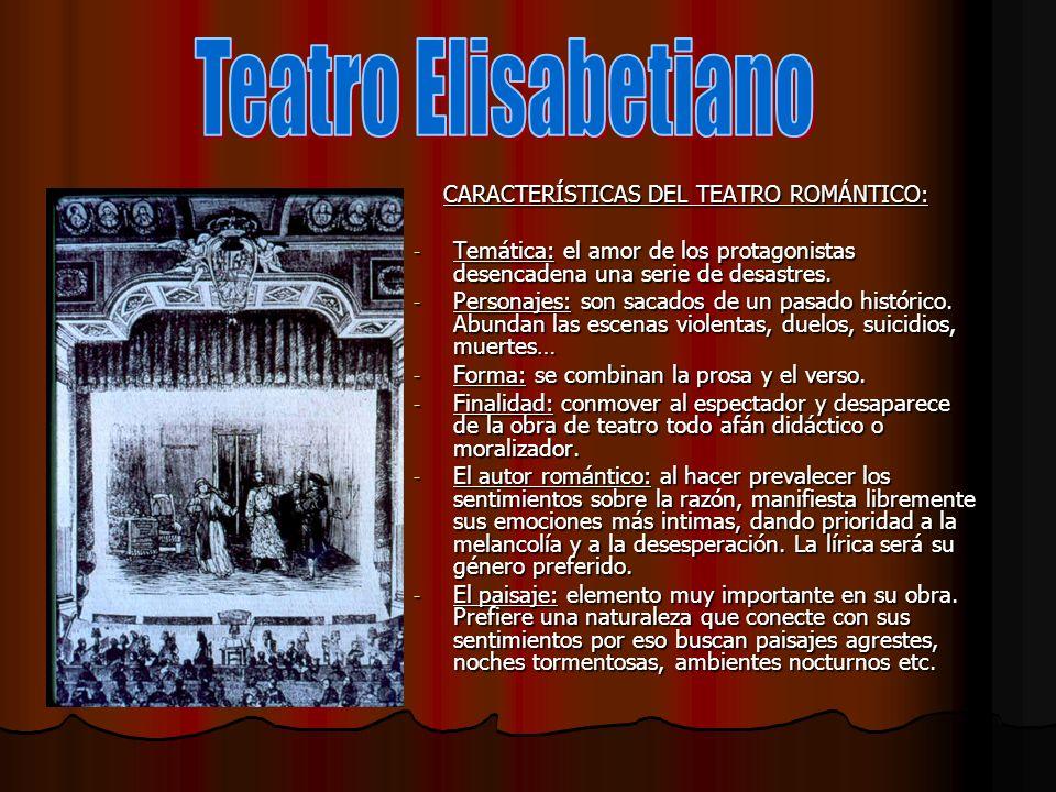 Teatro Elisabetiano CARACTERÍSTICAS DEL TEATRO ROMÁNTICO: