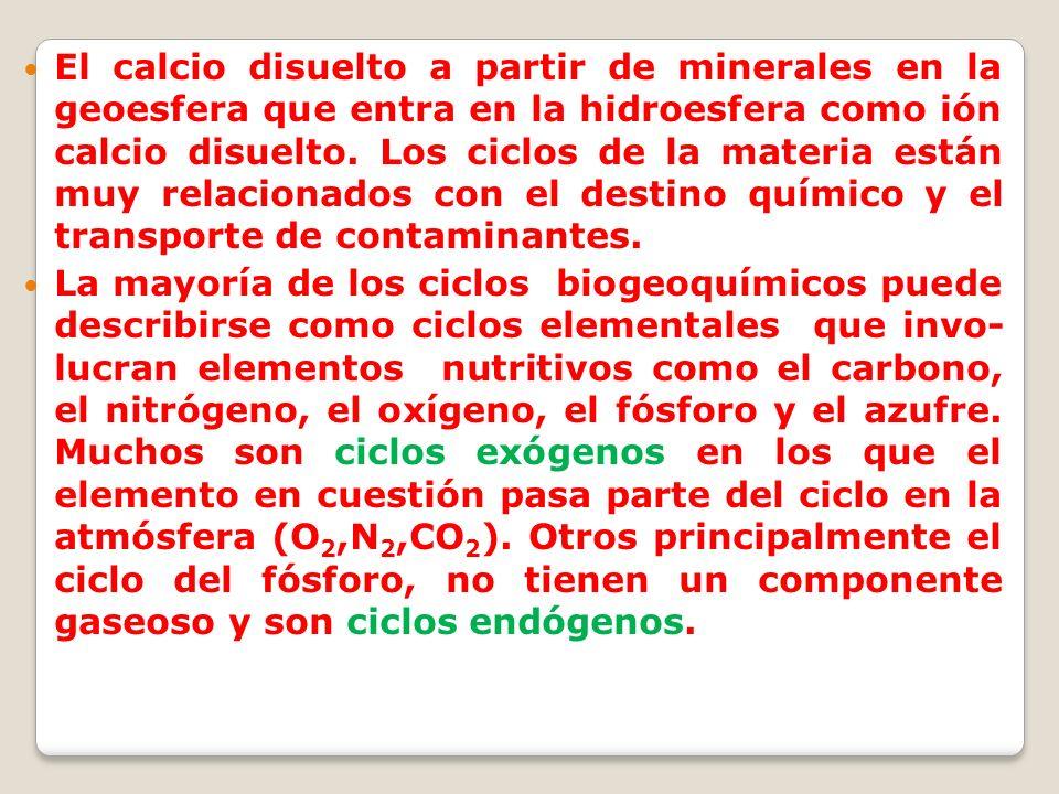 El calcio disuelto a partir de minerales en la geoesfera que entra en la hidroesfera como ión calcio disuelto. Los ciclos de la materia están muy relacionados con el destino químico y el transporte de contaminantes.
