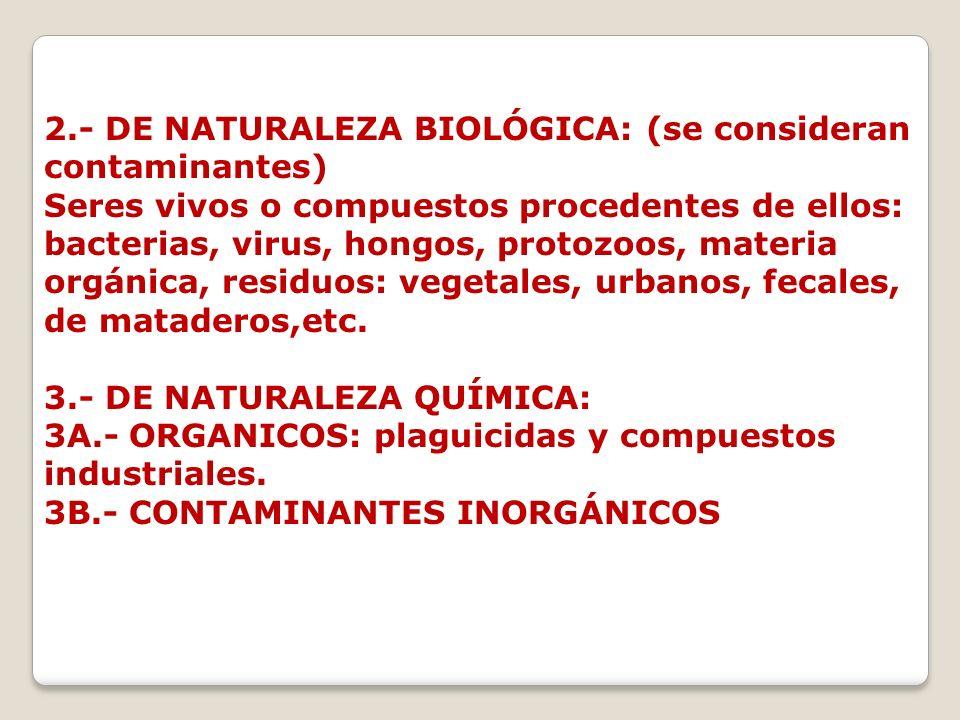 2.- DE NATURALEZA BIOLÓGICA: (se consideran contaminantes) Seres vivos o compuestos procedentes de ellos: bacterias, virus, hongos, protozoos, materia orgánica, residuos: vegetales, urbanos, fecales, de mataderos,etc.