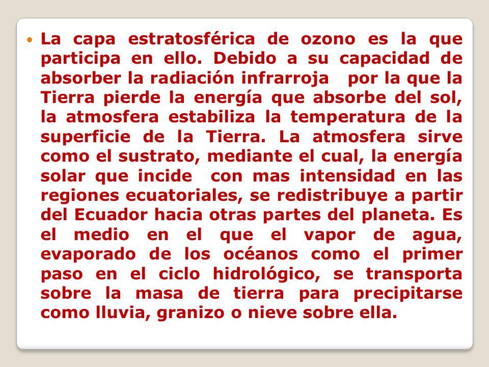La capa estratosférica de ozono es la que participa en ello