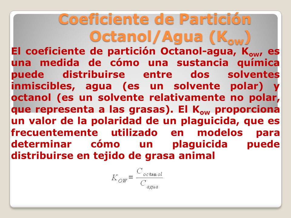Coeficiente de Partición Octanol/Agua (Kow)