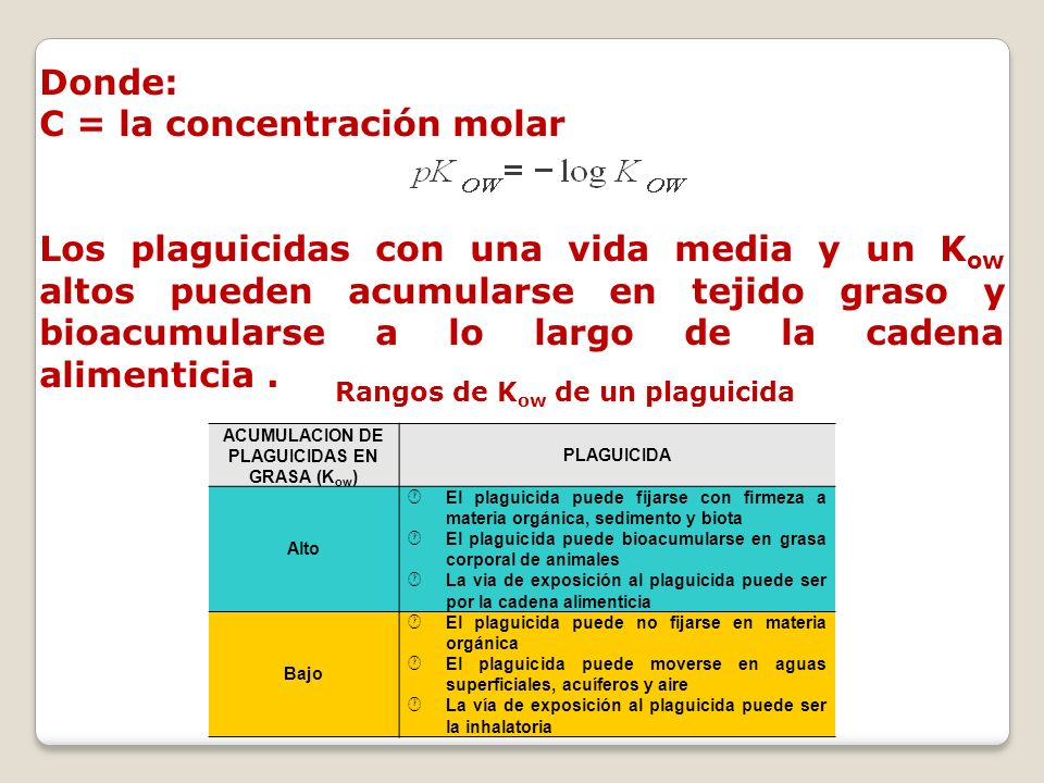 ACUMULACION DE PLAGUICIDAS EN GRASA (Kow)