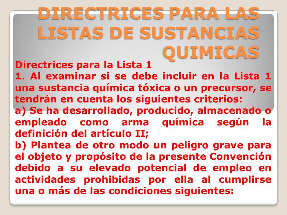 DIRECTRICES PARA LAS LISTAS DE SUSTANCIAS QUIMICAS