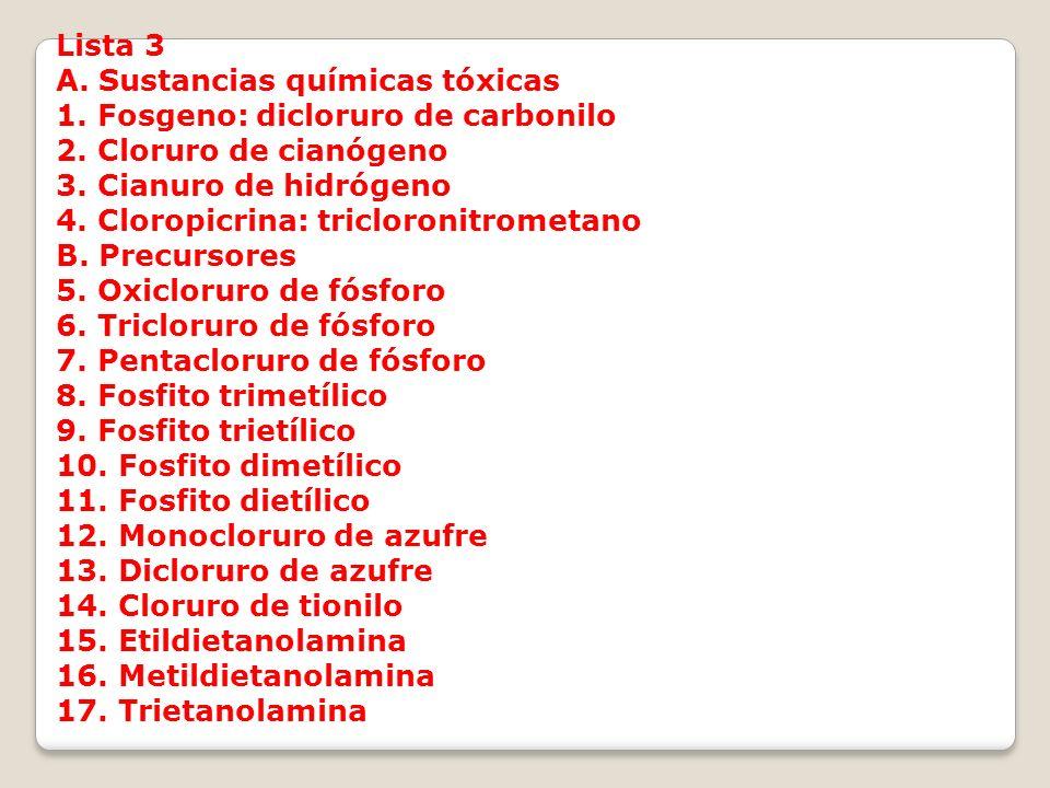 Lista 3 A. Sustancias químicas tóxicas. 1. Fosgeno: dicloruro de carbonilo. 2. Cloruro de cianógeno.