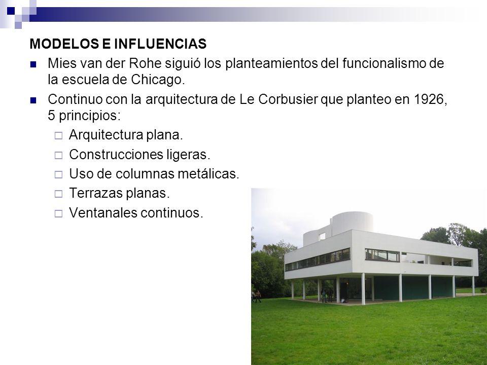 MODELOS E INFLUENCIAS Mies van der Rohe siguió los planteamientos del funcionalismo de la escuela de Chicago.
