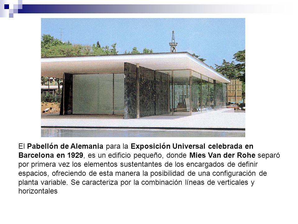 El Pabellón de Alemania para la Exposición Universal celebrada en Barcelona en 1929, es un edificio pequeño, donde Mies Van der Rohe separó por primera vez los elementos sustentantes de los encargados de definir espacios, ofreciendo de esta manera la posibilidad de una configuración de planta variable.