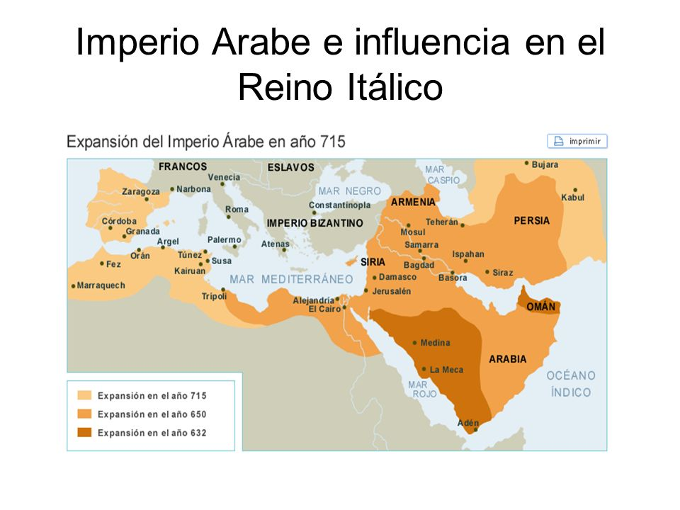 Imperio Arabe e influencia en el Reino Itálico