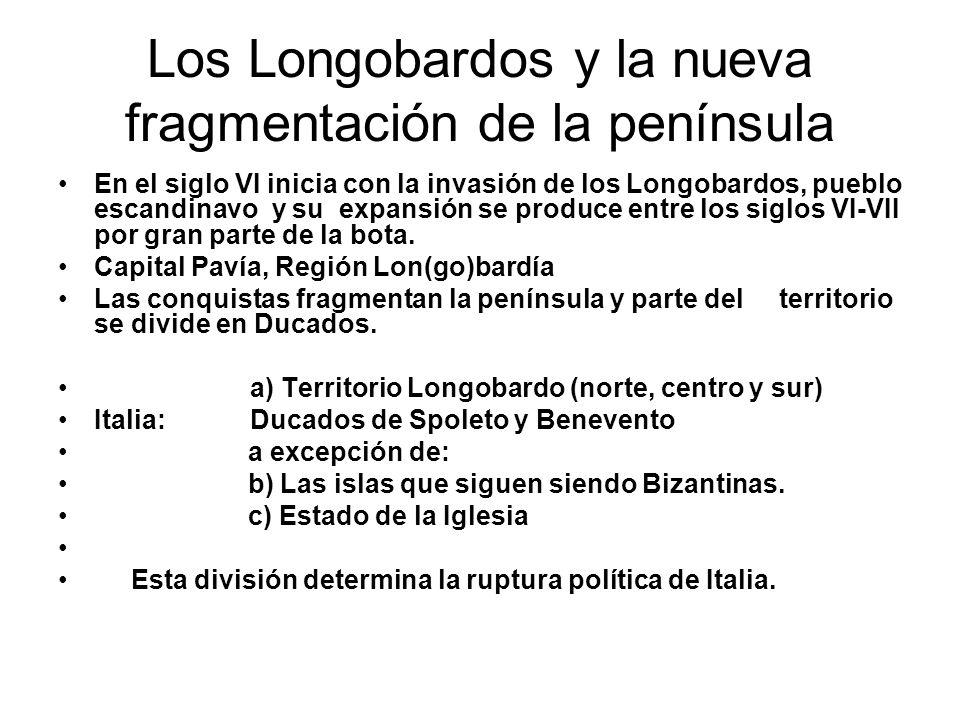 Los Longobardos y la nueva fragmentación de la península