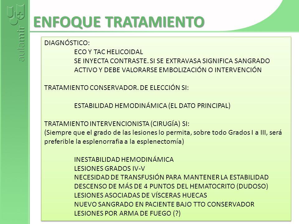 ENFOQUE TRATAMIENTO DIAGNÓSTICO: ECO Y TAC HELICOIDAL