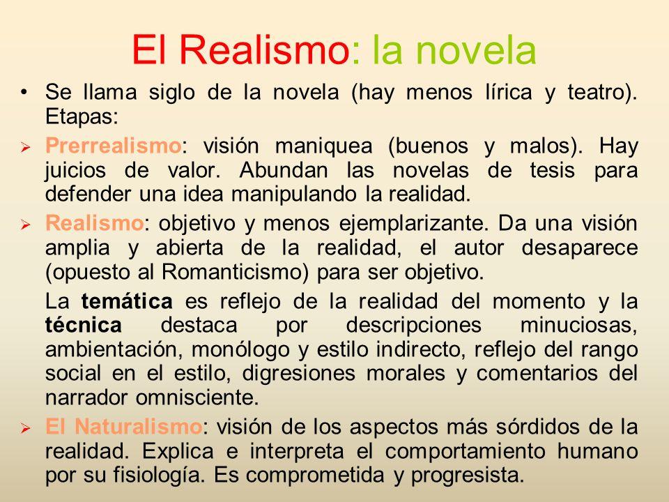 El Realismo: la novelaSe llama siglo de la novela (hay menos lírica y teatro). Etapas: