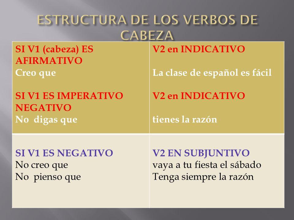 ESTRUCTURA DE LOS VERBOS DE CABEZA