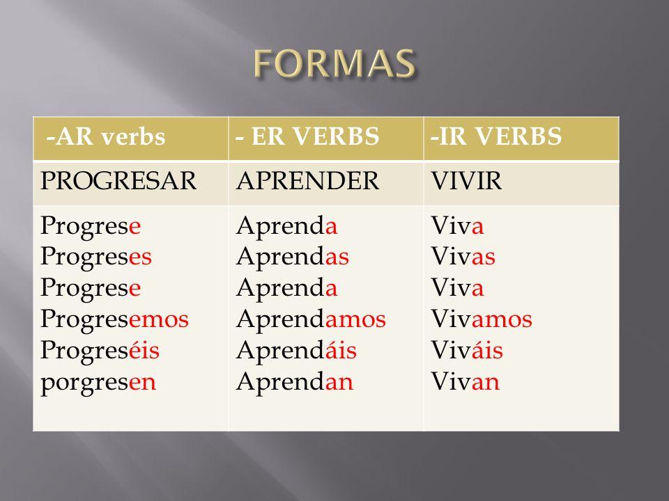 FORMAS -AR verbs - ER VERBS -IR VERBS PROGRESAR APRENDER VIVIR