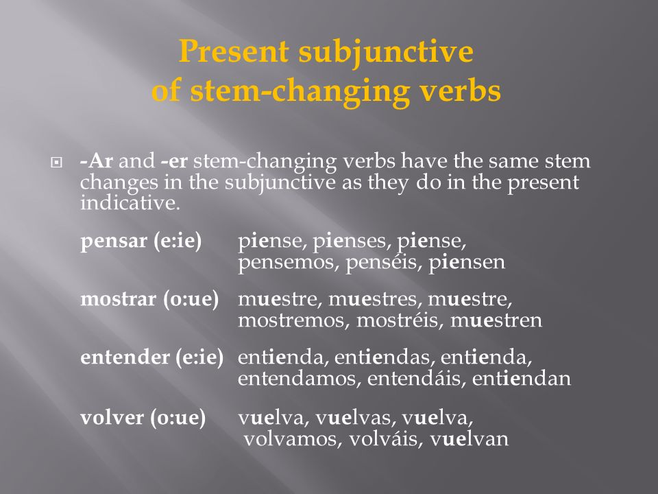 of stem-changing verbs