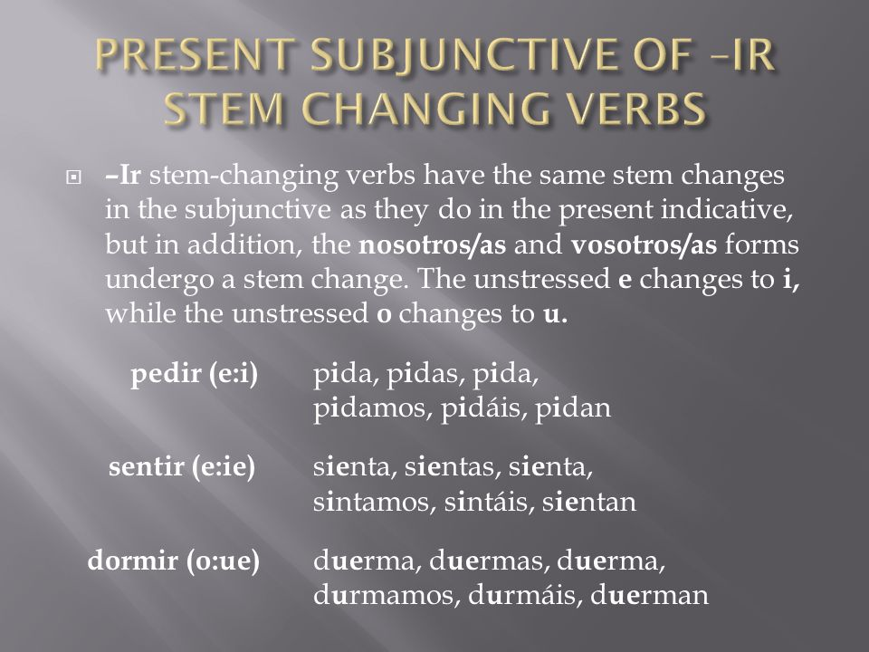 PRESENT SUBJUNCTIVE OF –IR STEM CHANGING VERBS