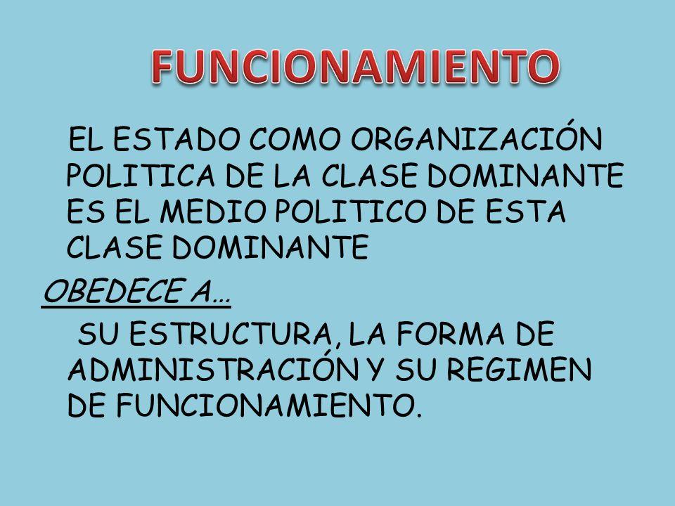 FUNCIONAMIENTO EL ESTADO COMO ORGANIZACIÓN POLITICA DE LA CLASE DOMINANTE ES EL MEDIO POLITICO DE ESTA CLASE DOMINANTE.