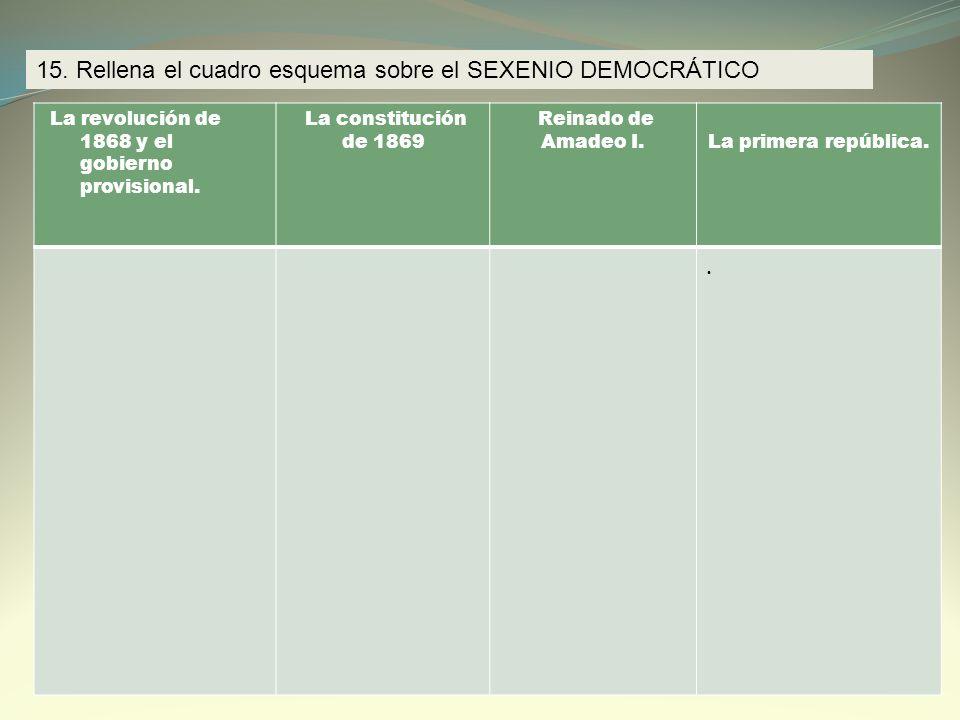 15. Rellena el cuadro esquema sobre el SEXENIO DEMOCRÁTICO