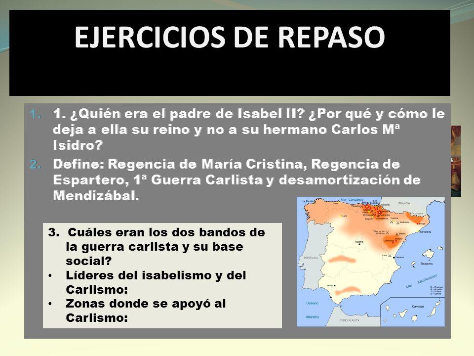 EJERCICIOS DE REPASO 1. ¿Quién era el padre de Isabel II ¿Por qué y cómo le deja a ella su reino y no a su hermano Carlos Mª Isidro