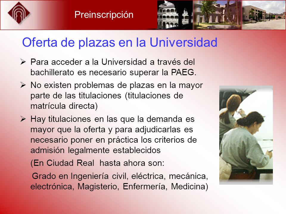 Oferta de plazas en la Universidad