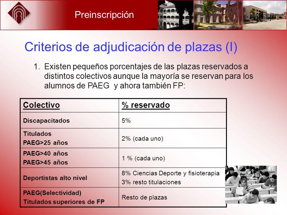 Criterios de adjudicación de plazas (I)