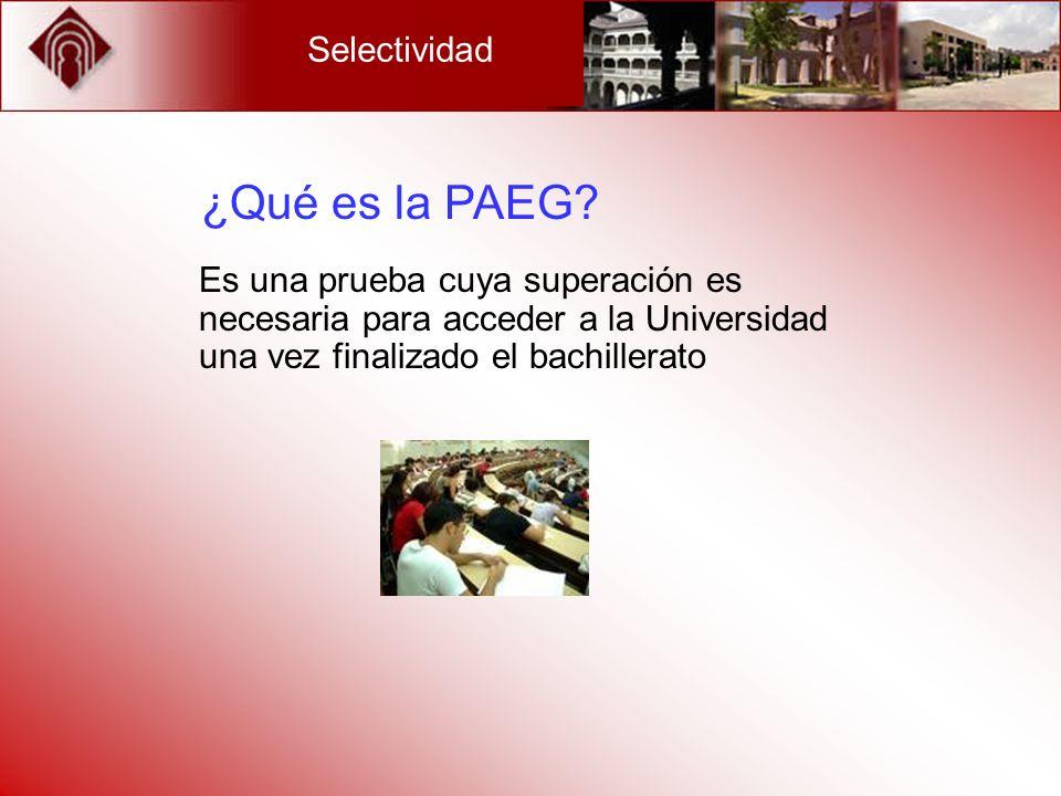 ¿Qué es la PAEG Selectividad