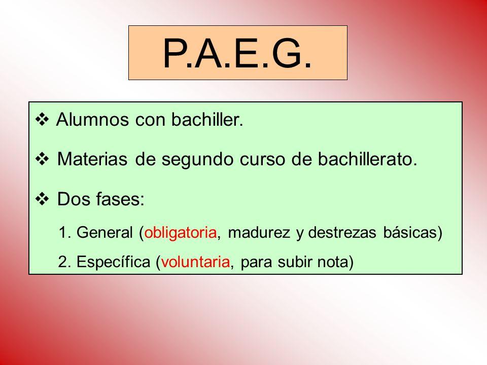 P.A.E.G. Alumnos con bachiller.