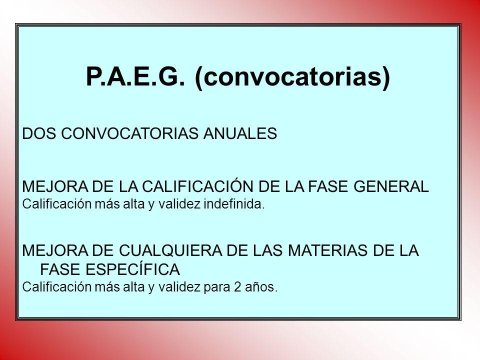 P.A.E.G. (convocatorias) DOS CONVOCATORIAS ANUALES