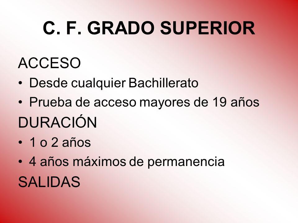 C. F. GRADO SUPERIOR ACCESO DURACIÓN SALIDAS