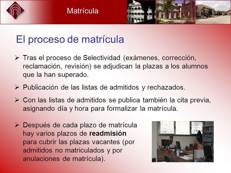El proceso de matrícula
