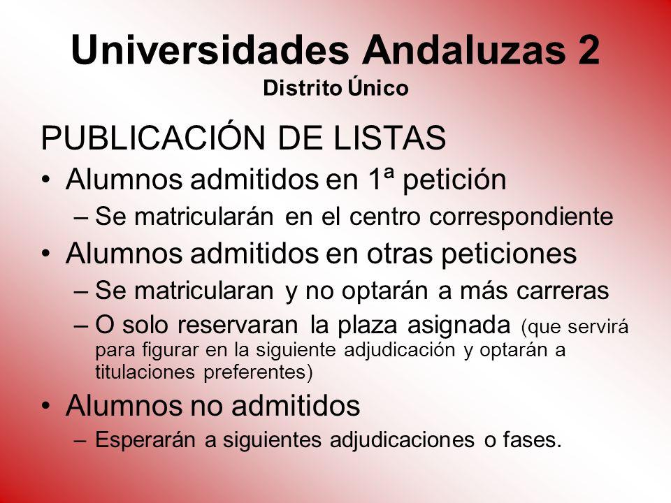 Universidades Andaluzas 2 Distrito Único