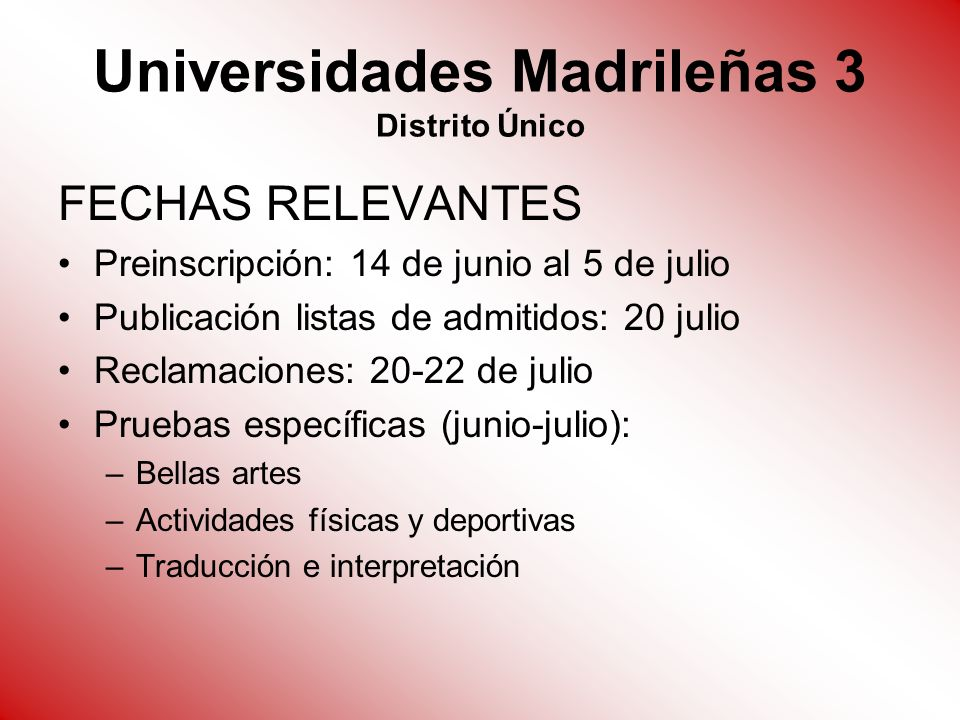 Universidades Madrileñas 3 Distrito Único