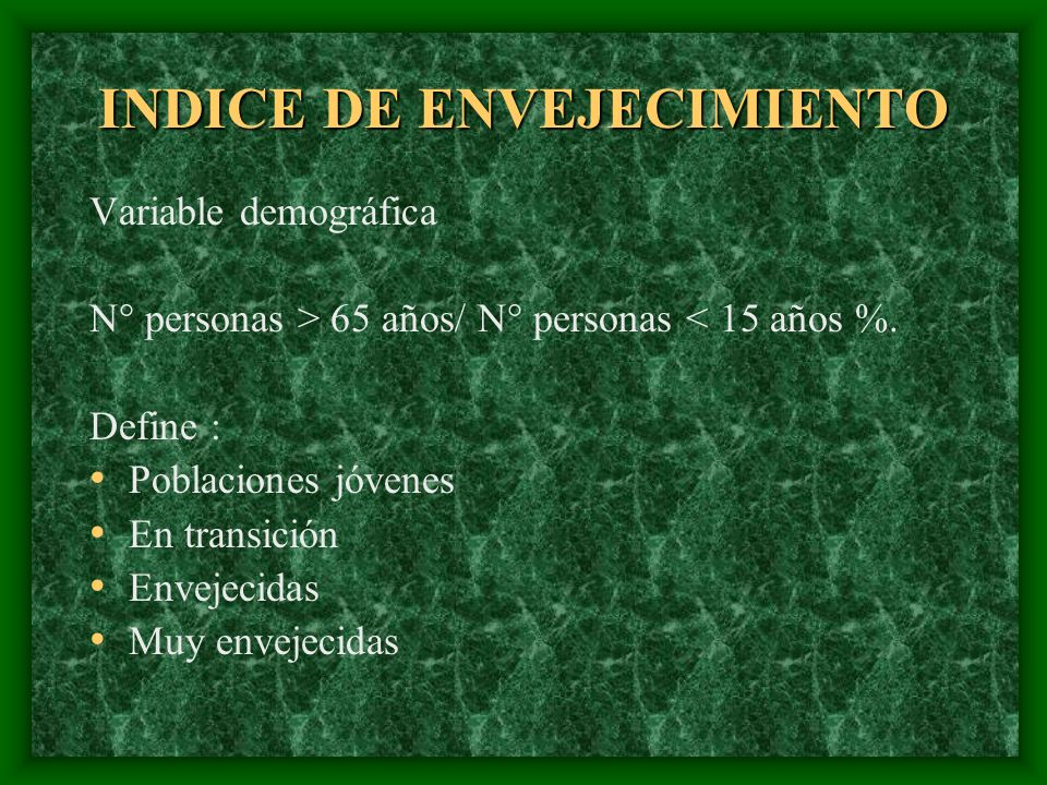 INDICE DE ENVEJECIMIENTO