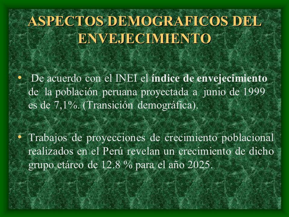 ASPECTOS DEMOGRAFICOS DEL ENVEJECIMIENTO