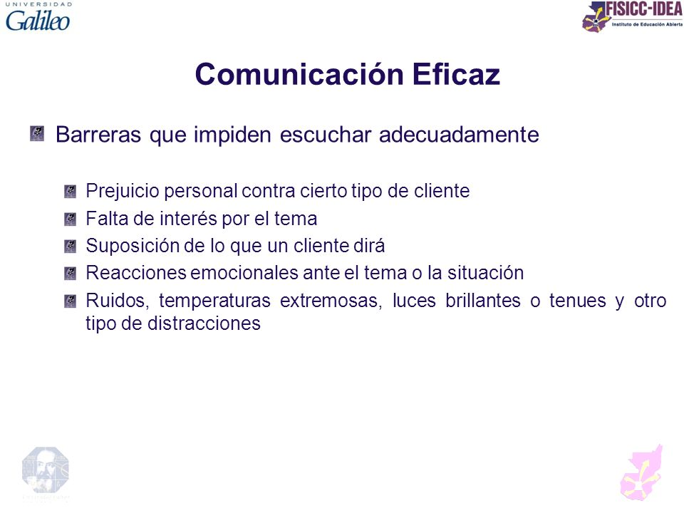 Comunicación Eficaz Barreras que impiden escuchar adecuadamente
