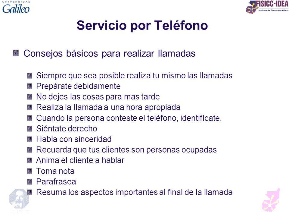 Servicio por Teléfono Consejos básicos para realizar llamadas