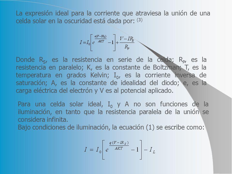 La expresión ideal para la corriente que atraviesa la unión de una celda solar en la oscuridad está dada por: (3)