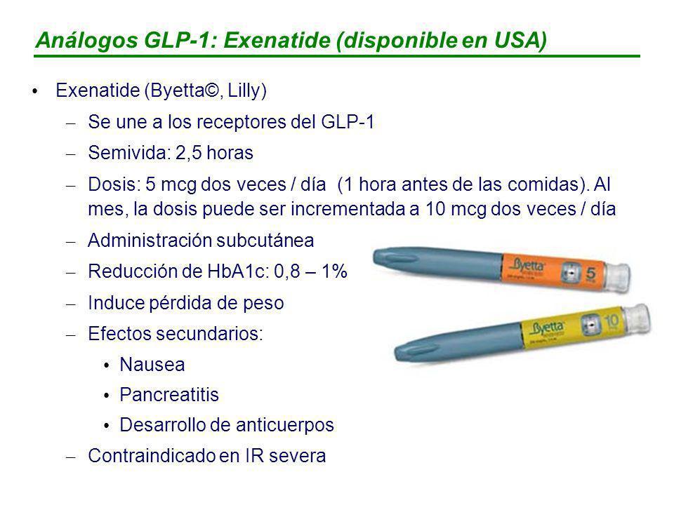 Análogos GLP-1: Exenatide (disponible en USA)