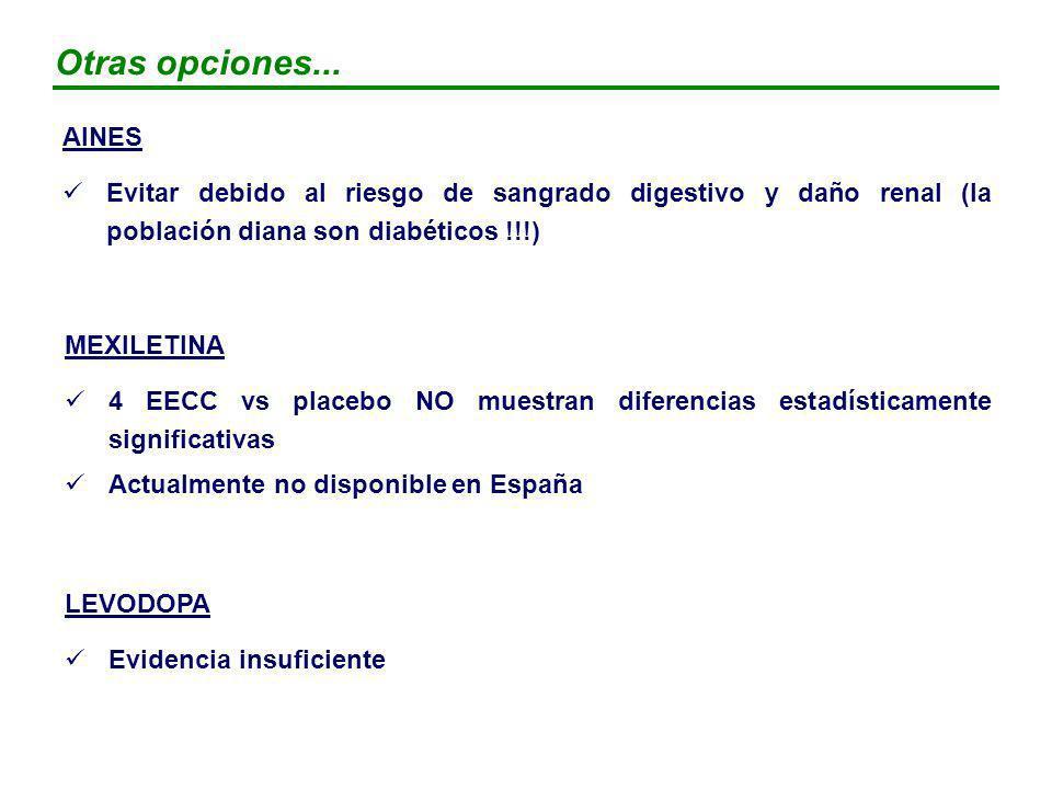 Otras opciones... AINES. Evitar debido al riesgo de sangrado digestivo y daño renal (la población diana son diabéticos !!!)