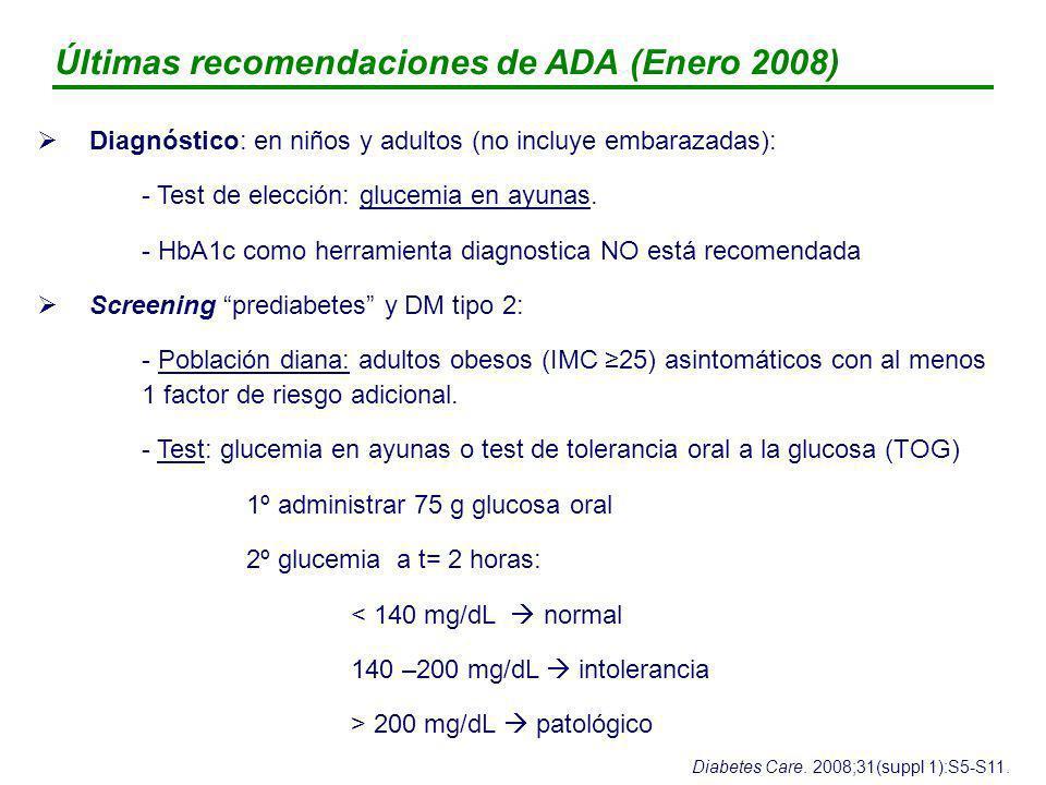 Últimas recomendaciones de ADA (Enero 2008)