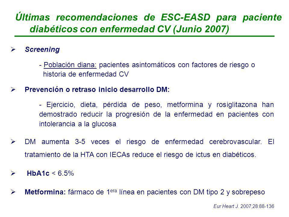 Últimas recomendaciones de ESC-EASD para paciente diabéticos con enfermedad CV (Junio 2007)