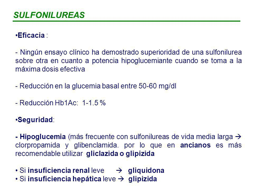 SULFONILUREAS Eficacia :